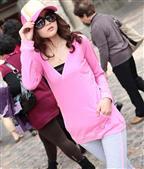 粉红色带帽女装长袖卫衣