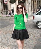 绿色女款一字领纯棉T恤