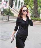 黑色蝴蝶结女式7分袖T恤